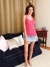Denim skirt brunette exposing her pretty pussy after undressing completely