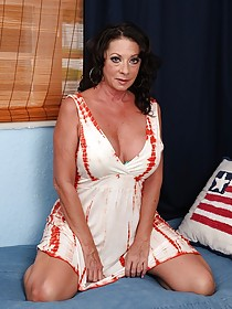 Wrinkly-ass brunette MILF slowly taking off her colorful lingerie