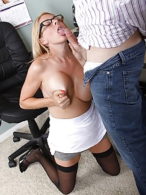 Black stockings busty blonde gets licked and fucked in the office